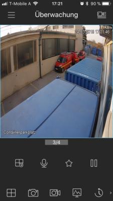 Screenshot der Videoüberwachungs App
